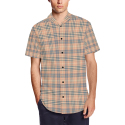 Parking Garage Plaid in Brick Men's Short Sleeve Shirt with Lapel Collar (Model T54)