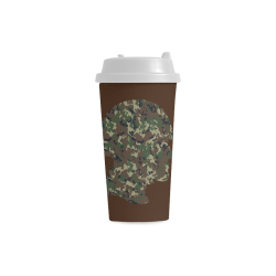 Forest Camouflage Soldier on Brown Double Wall Plastic Mug