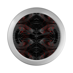 Red Dribled Voice Crew Silver Color Wall Clock