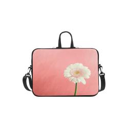 "Gerbera Daisy - White Flower on Coral Pink Laptop Handbags 11"""
