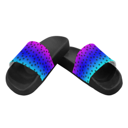 rainbow with black paws Women's Slide Sandals (Model 057)
