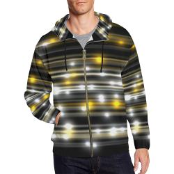 LIT (Black/White/Gold) All Over Print Full Zip Hoodie for Men (Model H14)