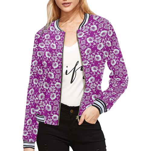 FLORAL DESIGN 42 All Over Print Bomber Jacket for Women (Model H21)