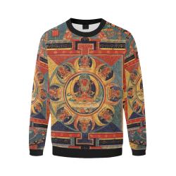 Protection, by iVan Venerucci Italian Style Men's Oversized Fleece Crew Sweatshirt/Large Size(Model H18)