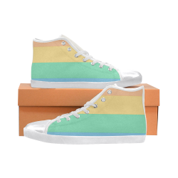 Rainbow High Top Canvas Women's Shoes/Large Size (Model 002)