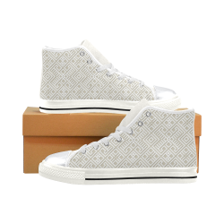 White 3D Geometric Pattern High Top Canvas Shoes for Kid (Model 017)
