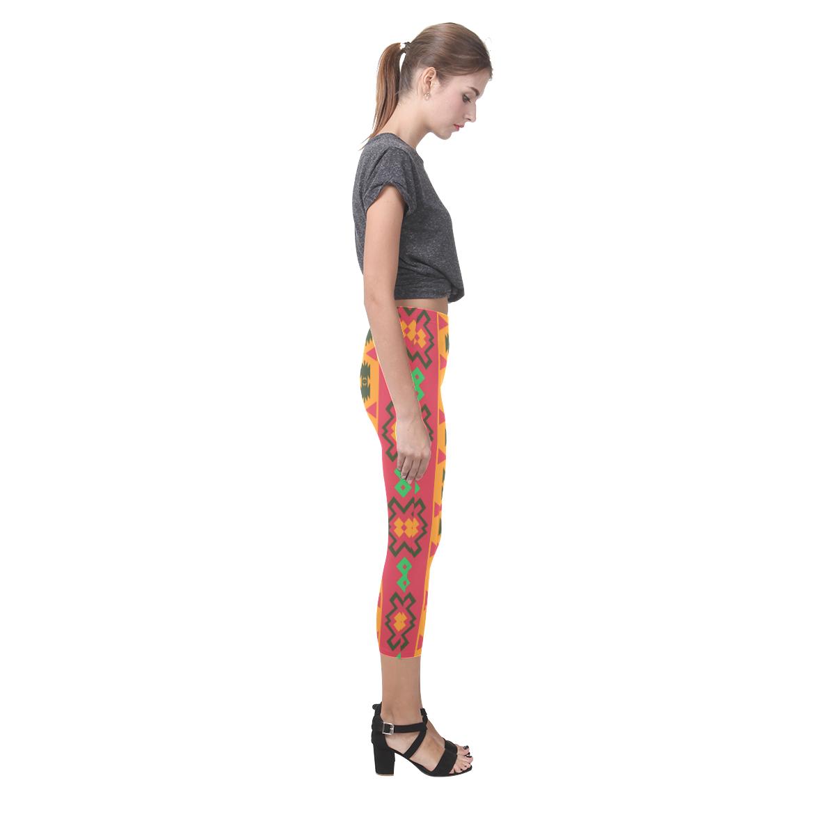 Tribal shapes in retro colors (2) Capri Legging (Model L02)