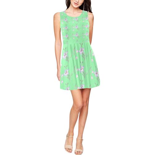 Light Green Flower Pattern Summer Dress Thea Sleeveless Skater Dress(Model D19)