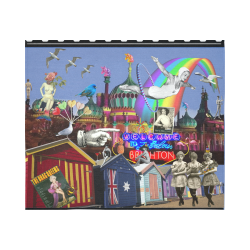 "Fabulous Brighton Cotton Linen Wall Tapestry 60""x 51"""