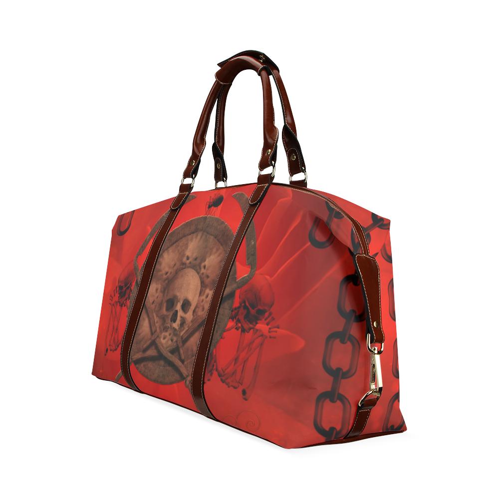 Skulls on red vintage background Classic Travel Bag (Model 1643) Remake