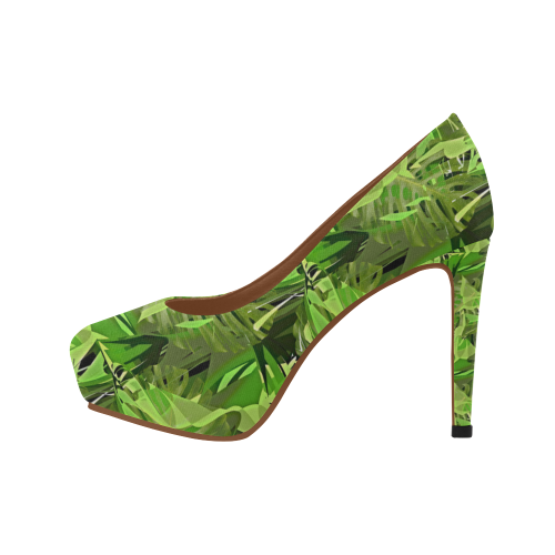 Tropical Jungle Leaves Camouflage Women's High Heels (Model 044)