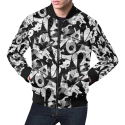 Black and White Pop Art by Nico Bielow All Over Print Bomber Jacket for Men (Model H19)