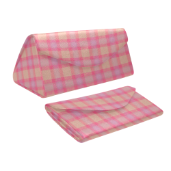 Pink Purple Plaid Custom Foldable Glasses Case