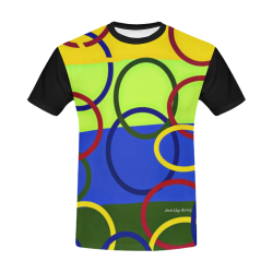 Olympic Rings Abstract Printed Art Design By Me by Doris Clay-Kersey All Over Print T-Shirt for Men/Large Size (USA Size) Model T40)