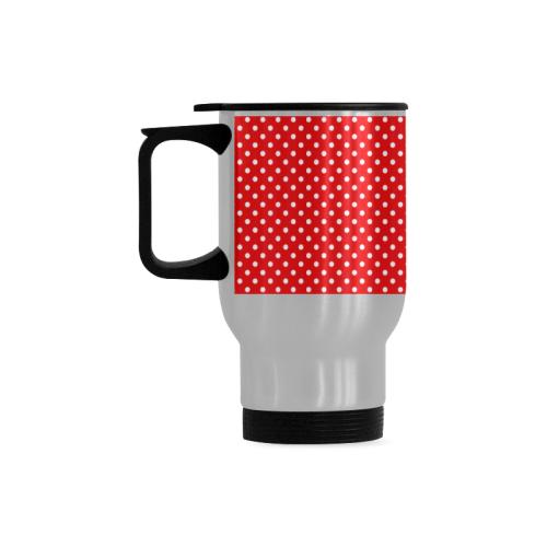 Red polka dots Travel Mug (Silver) (14 Oz)