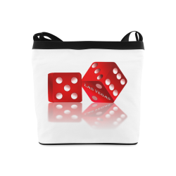 Las Vegas Craps Dice on White Crossbody Bags (Model 1613)