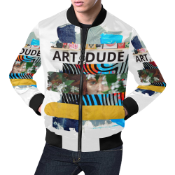 Art Dude colorful abstract artsy design by PiccoGrande All Over Print Bomber Jacket for Men (Model H19)