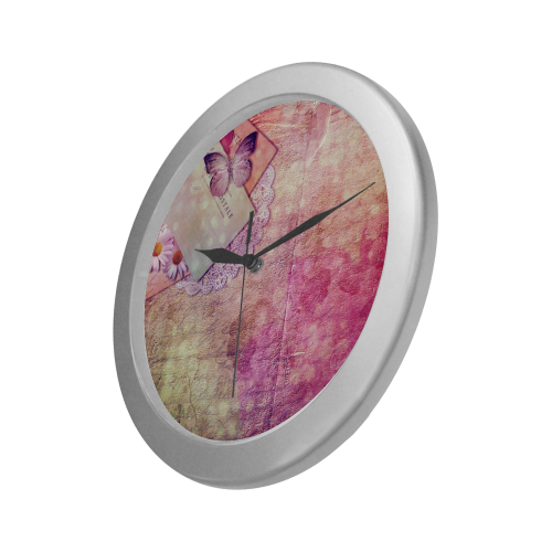 Silver Frame Wall Clock Classic Graphic Pink Butterfly Style Modern Art Wall Clock Silver Color Wall Clock