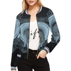 Wolf in black and blue All Over Print Bomber Jacket for Women (Model H21)