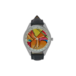 ABSTRACT Men's Leather Strap Analog Watch(Model 209)