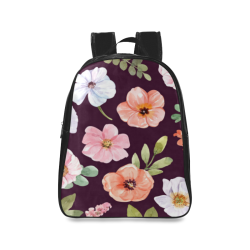 Pink and White Flowers on Dark Background School Backpack/Large (Model 1601)
