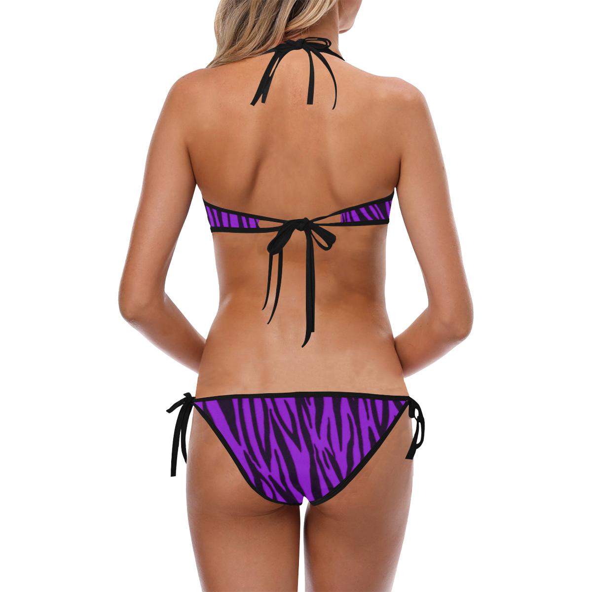 Purple Zebra Pattern Custom Halter & Side Tie Bikini Swimsuit (Model S06)