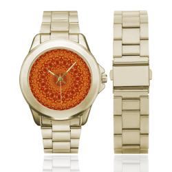 Love and Romance Golden Bohemian Hearts Custom Gilt Watch(Model 101)