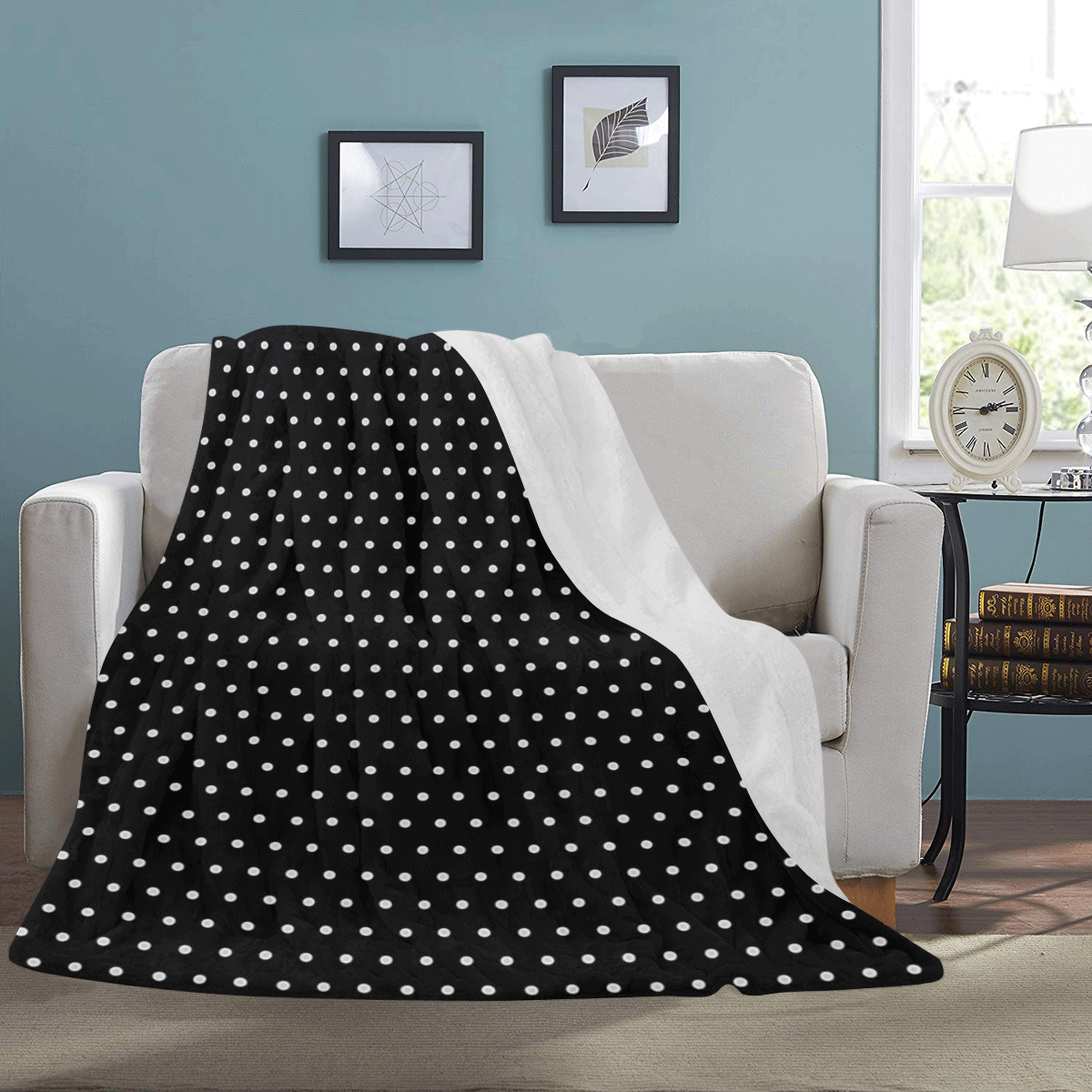 "Polka Dot Pin Black - Jera Nour Ultra-Soft Micro Fleece Blanket 60""x80"""