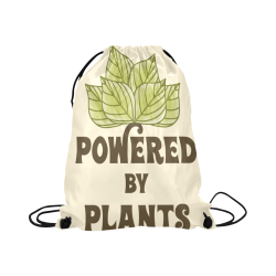 "Powered by Plants (vegan) Large Drawstring Bag Model 1604 (Twin Sides)  16.5""(W) * 19.3""(H)"