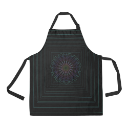 Green flower on black All Over Print Apron