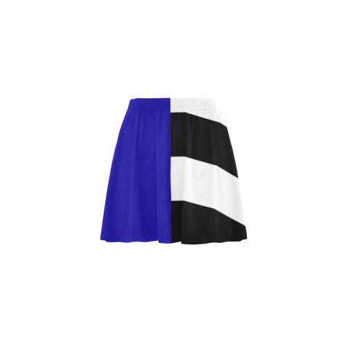 Blue and Stripes Mixed Print Mini Skating Skirt (Model D36)