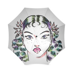 Vintage Girl Lineart Foldable Umbrella (Model U01)