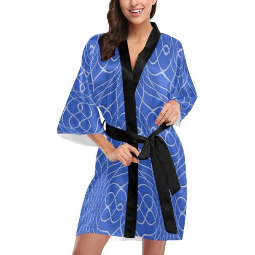Blue Pineapple Twist Kimono Robe