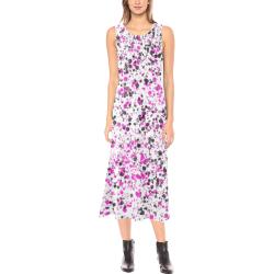 Pink, White and Black Spray Paint Phaedra Sleeveless Open Fork Long Dress (Model D08)