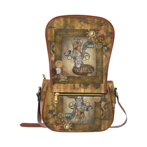 Steampunk lady with owl Saddle Bag/Large (Model 1649)