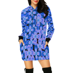 zappwaits flower t5 All Over Print Hoodie Mini Dress (Model H27)