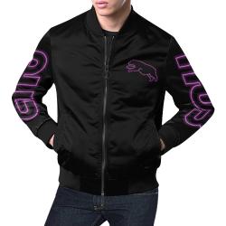 Purple Neon Jumping Bear All Over Print Bomber Jacket for Men (Model H19)