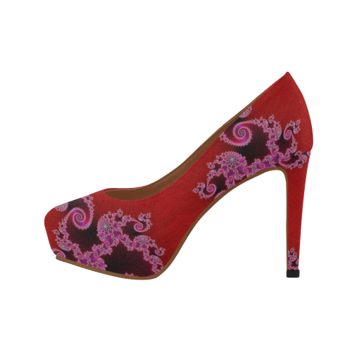 Red Pink Mauve Hearts and Lace Fractal Abstract 2 Women's High Heels (Model 044)