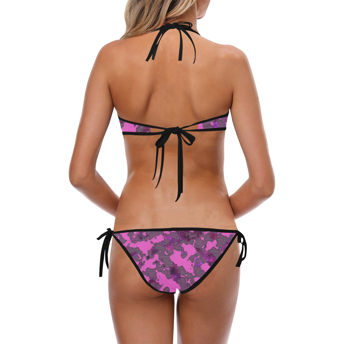 CAMOUFLAGE PINK BLACK Custom Halter & Side Tie Bikini Swimsuit (Model S06)