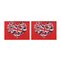 Union Jack British UK Flag Heart Red Placemat 14'' x 19'' (Two Pieces)