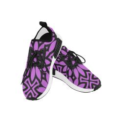 Purple/Black Flowery Pattern Women's Draco Running Shoes (Model 025)