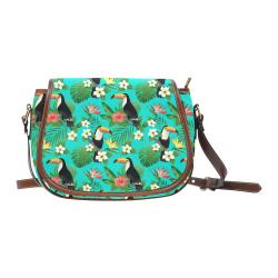Tropical Summer Toucan Pattern Saddle Bag/Large (Model 1649)