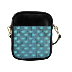zen lotus wood wall blue Sling Bag (Model 1627)