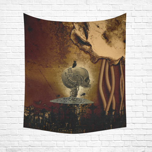 "Mechanical skull Cotton Linen Wall Tapestry 51""x 60"""