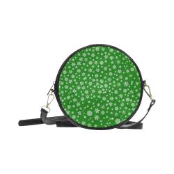 Christmas White Snowflakes on Green Round Sling Bag (Model 1647)