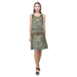 The celtic knot Sleeveless Splicing Shift Dress(Model D17)