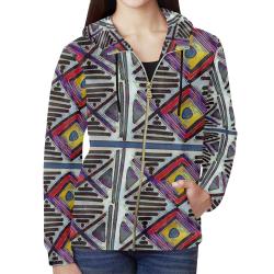 Off Center All Over Print Full Zip Hoodie for Women (Model H14)