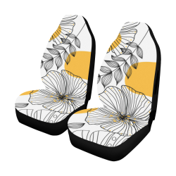 Tropical Leaves Cover, Flowers Car Seat Cover Airbag Compatible (Set of 2)