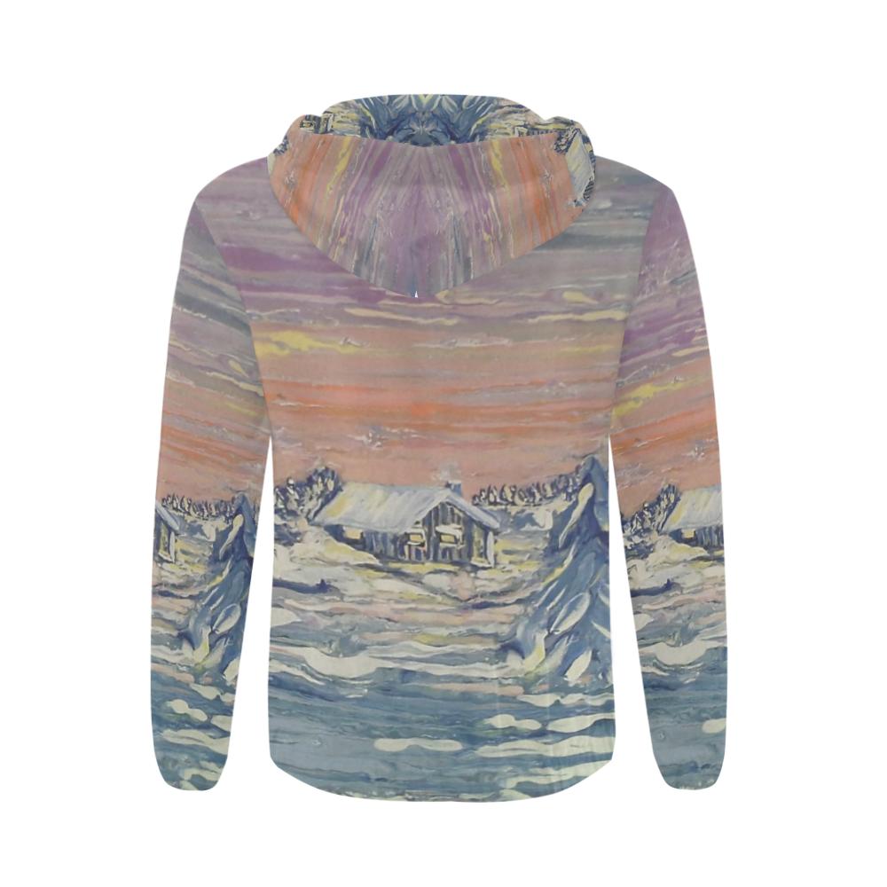 Winter Cabin - All Over Print Full Zip Hoodie for Men (Model H14)