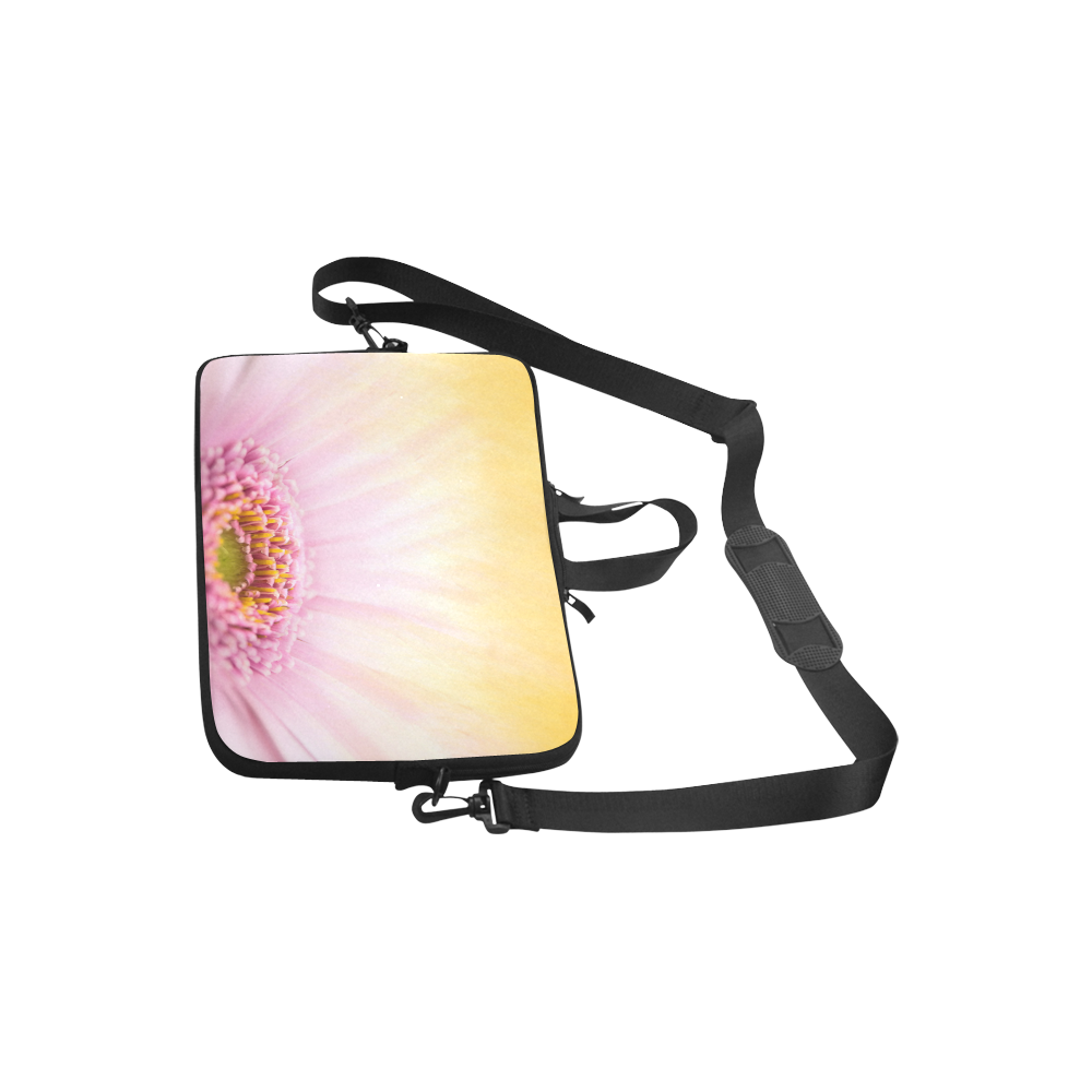 Gerbera Daisy - Pink Flower on Watercolor Yellow Laptop Handbags 10""
